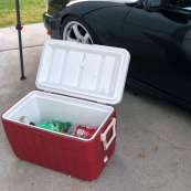 always bring some beverages in a cooler when racing